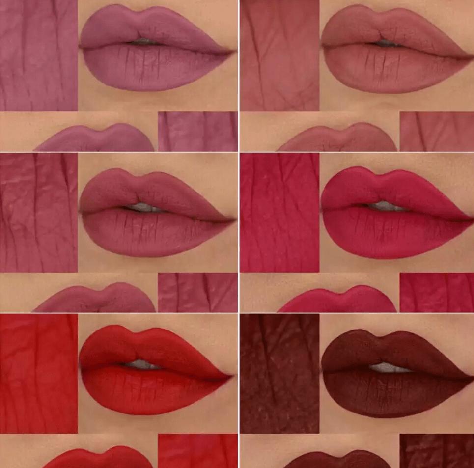 As cores dos batons: Power(rosa lilás), Prince(nude pêssego), Themyscira(rosa antigo), Deusa(rosa magenta), Wonder(vermelho red carpet)) e Amazona(vinho).