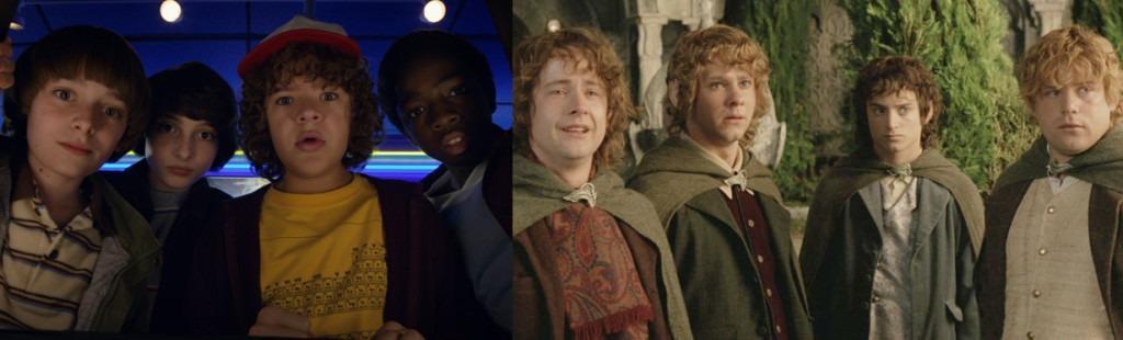 crianças de stranger things e hobbits senhor dos aneis