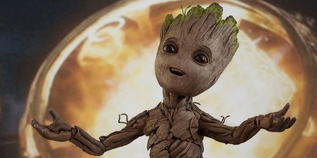 Baby Groot em Guardioes da Galaxia vol 2 - criatura fofa de 2017